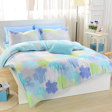 【鴻宇HongYew】100%奧地利天絲-雙人四件式天絲兩用被床包組-幸運草藍