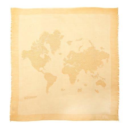 Alviero Martini 義大利地圖包 經典地圖鑲鑽下擺流蘇方巾/L-金色