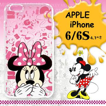 迪士尼授權正版 iPhone 6 i6 / 6S i6S 4.7吋 大頭系列透明手機軟殼(摀嘴米妮)