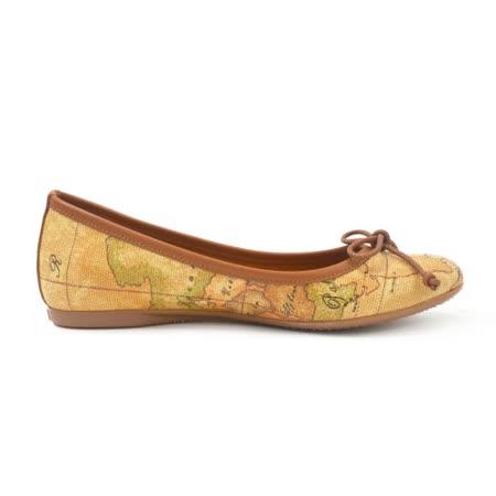 Alviero Martini 義大利地圖包 經典圓頭蝴蝶結平底包鞋-地圖黃