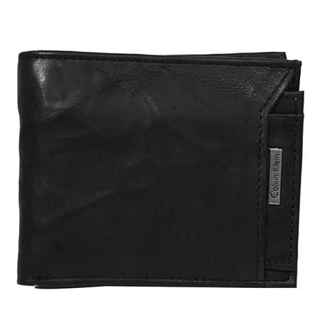 Calvin Klein黑色立體水紋皮革短夾