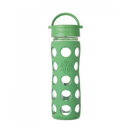美國唯樂Lifefactory 繽紛彩色玻璃水瓶-平口450ml草綠 LF222001