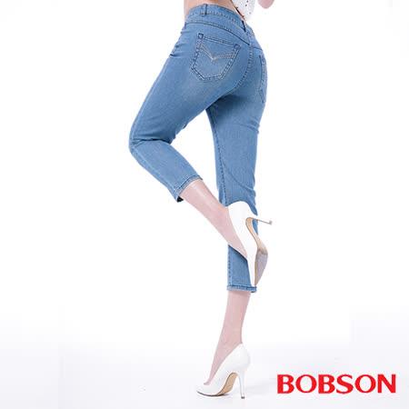 BOBSON 女款高腰膠原蛋白七分褲-(淺藍208-58)
