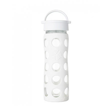 美國唯樂Lifefactory 繽紛彩色玻璃水瓶-平口450ml 純白 LF222002