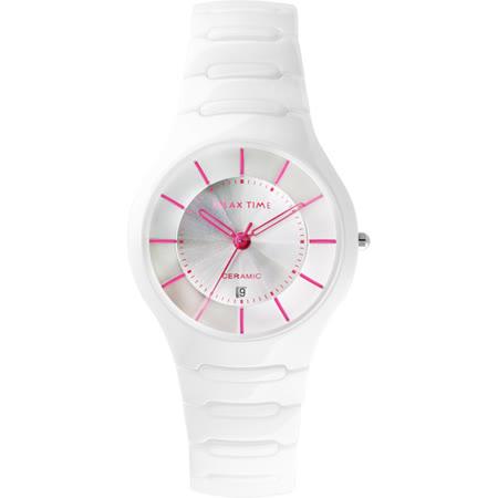 Relax Time 經典藍寶石陶瓷腕錶-白x桃紅時標/37mm RT-26-C5