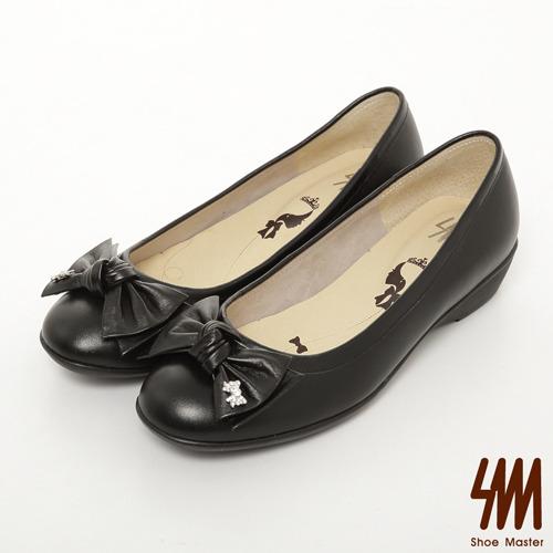 SM-台灣製真皮系列-子母水鑽蝴蝶結素面跟鞋-黑色