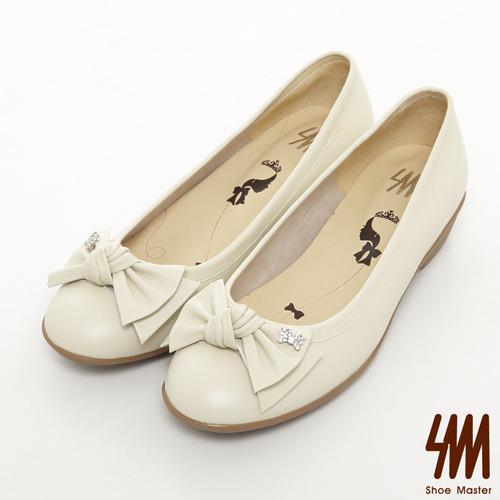 SM-台灣製真皮系列-子母水鑽蝴蝶結素面跟鞋-米色