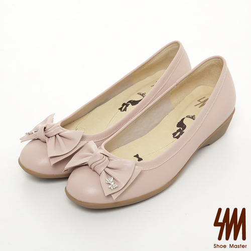 SM-台灣製真皮系列-子母水鑽蝴蝶結素面跟鞋-粉色