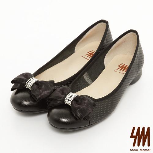 SM-台灣製真皮系列-雙層蝴蝶結網點娃娃鞋-黑色