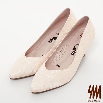 SM-台灣製真皮系列-簍空性感蕾絲尖頭細跟鞋-粉色