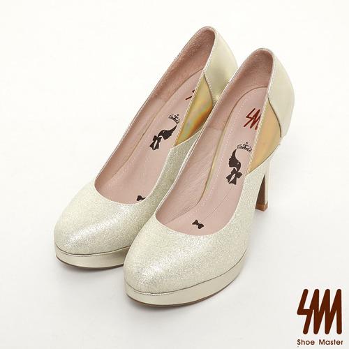 SM-台灣製真皮系列-閃亮拼色性感高跟鞋-金色