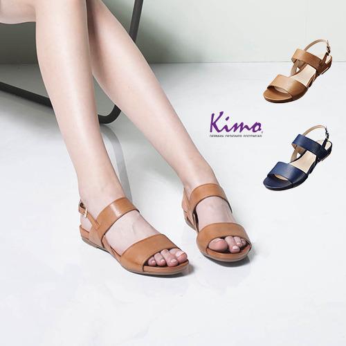 【Kimo德國品牌手工氣墊鞋】素色輕便簡約風平底涼鞋-冷酷藍(D5416SF006016)