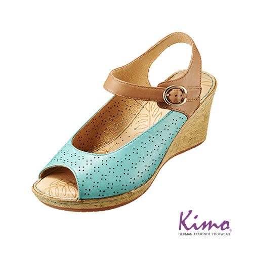 【Kimo德國品牌手工氣墊鞋】春漾鏤空糖果色系楔型鞋-粉嫩藍(K16SF019206)