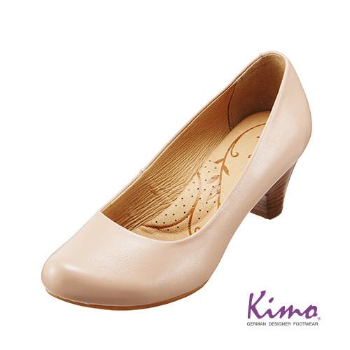 【Kimo德國品牌手工氣墊鞋】城市風素面百搭真皮淑女鞋-簡約米(K15SF032510)