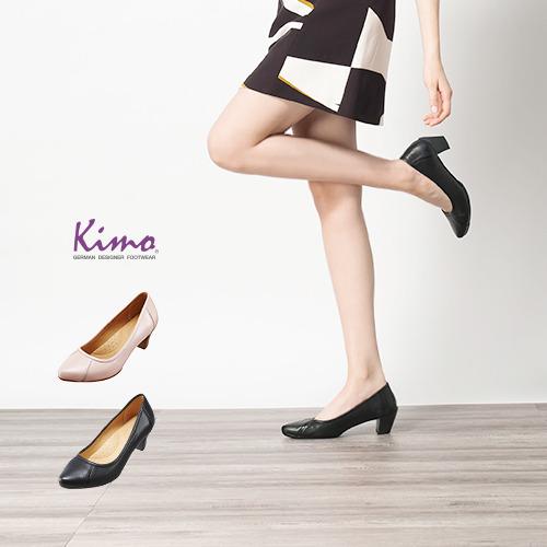 【Kimo德國品牌手工氣墊鞋】辦公室最愛設計款縫線造型淑女鞋-極簡黑(K16SF045133)