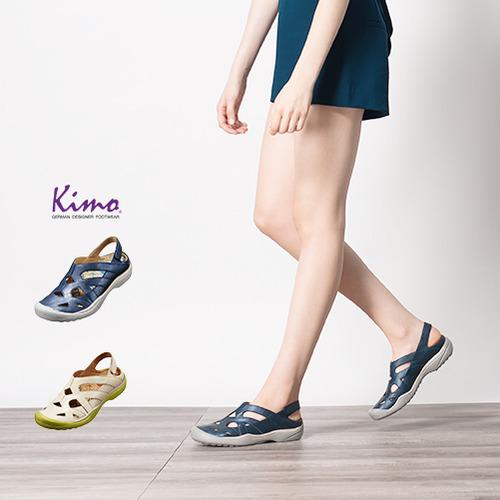 【Kimo德國品牌手工氣墊鞋】質感純色運動風洞洞戶外休閒鞋-休閒藍(K16SF073116)