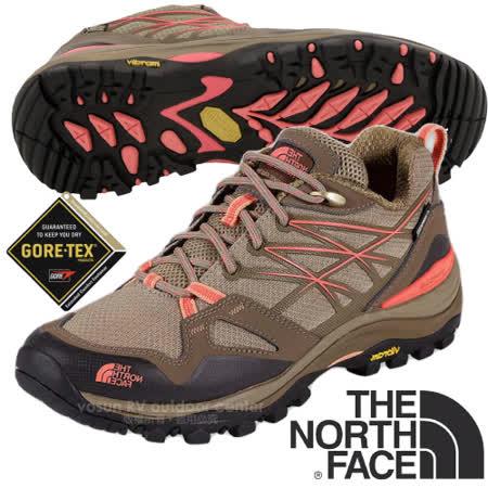 【美國 The North Face】女新款 HEDGEHOG FASTPACK GORE-TEX 低筒輕量登山健行鞋.多功能登山鞋.越野鞋.健行鞋_CDG0 小熊棕/狂歡紅 V