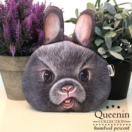 DF Queenin日韓 - 動物城市頑皮款零錢包-跩臉兔兔