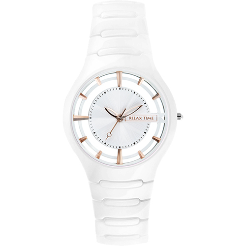 RELAX TIME RT57 優雅鏤空陶瓷腕錶~白x玫瑰金時標37mm RT~57~2