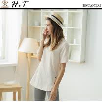 玄太-優雅棉質緹花造型上衣(淡粉)