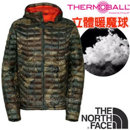 【美國 The North Face】男新款 PrimaLoft ThermoBall 超輕量暖魔球保暖連帽外套(可機洗).兜帽夾克.大衣.風衣/媲美羽絨/C761 綠迷彩 V