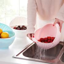 PUSH! 廚房用品 有加蓋水果蔬菜麵條清洗籃瀝水籃洗菜籃(大號)D50-2粉色