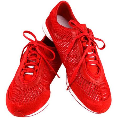 Y-3山本耀司 紅色真皮透氣網織運動休閒鞋【女款US 9號】