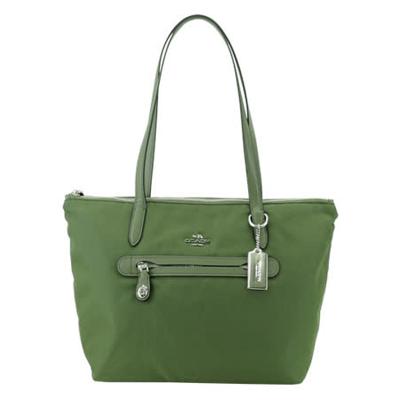 COACH 馬車LOGO金屬飾牌前口袋托特包(綠)