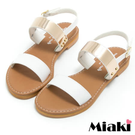 【Miaki】MIT 涼鞋韓式金屬平底露趾拖鞋 (白色)