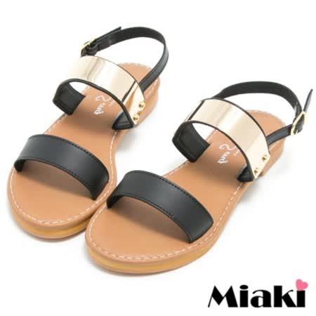 【Miaki】MIT 涼鞋韓式金屬平底露趾拖鞋 (黑色)