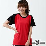 【遊遍天下】 台灣製中性輕量圓領吸濕排汗機能衫(紅黑)(品特)