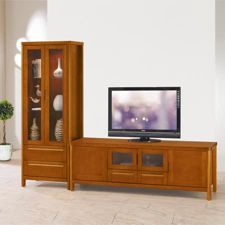 HAPPYHOME 泰豐8.2尺樟木色L型電視櫃UZ6-207-1