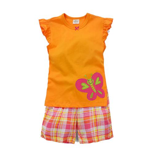 (兒童棉T)歐美風格設計創意兒童棉T恤+褲套裝(蝴蝶-女孩款)