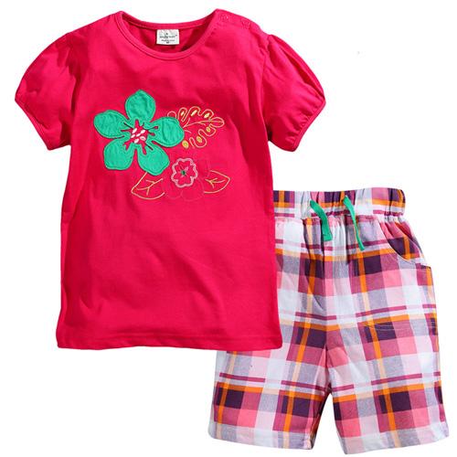 (兒童棉T)歐美風格設計創意兒童棉T恤+褲套裝(花朵-女孩款)