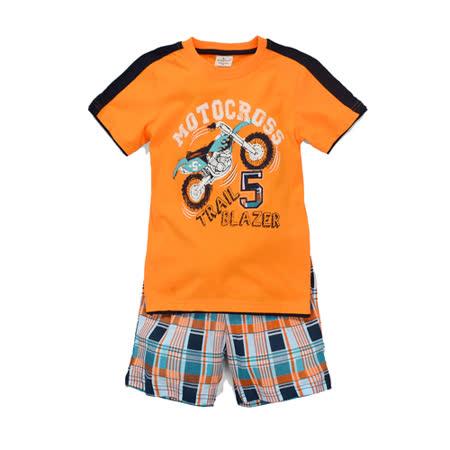 (兒童棉T)歐美風格設計創意兒童棉T恤+褲套裝(機車-男孩款)