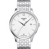 TISSOT Tradition 經典復刻大三針腕錶-銀/42mm T0636101103700