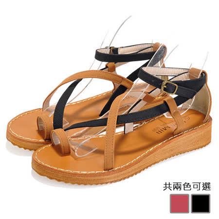 《JOYCE》多帶交叉雙色低跟涼鞋