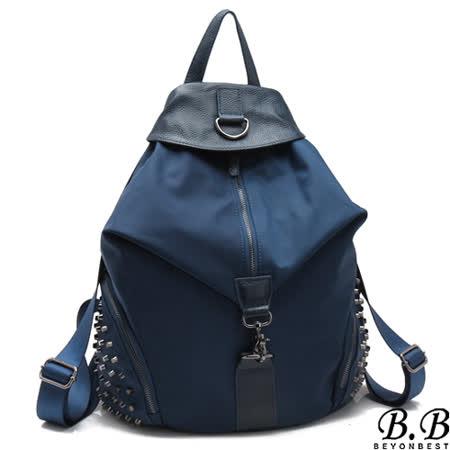 【MOROM】真皮搖滾輕龐克鉚釘後背包(藍色)211