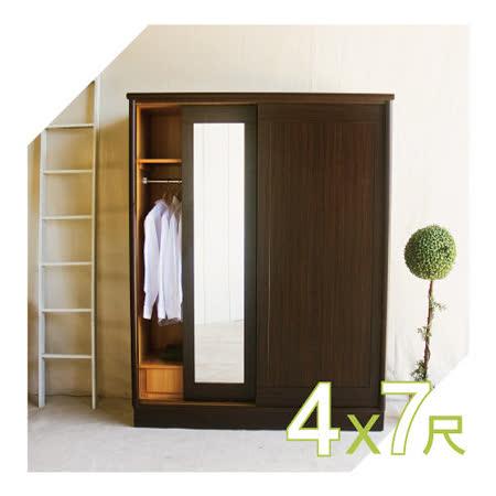 【YUDA】美化4*7尺 六分木心板 三拉門/三推門 衣櫥/衣櫃 新竹以北免運