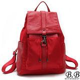 【MOROM】真皮街頭時尚釦飾多口袋後背包(紅色)210