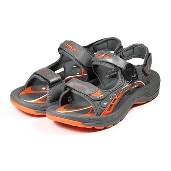 (男) 皮爾卡登 QQ彈力排水運動涼鞋 灰橘 鞋全家福