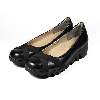 (女) Rin Rin 交叉鋸齒楔型鞋 黑 鞋全家福
