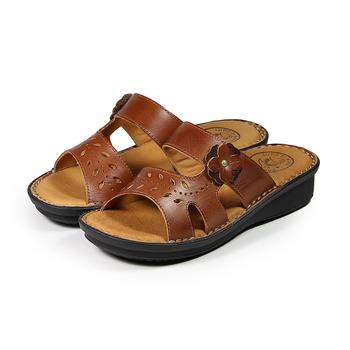 (女) 老船長 真皮小花鏤空葉片拖鞋 深棕 鞋全家福
