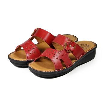 (女) 老船長 真皮小花鏤空葉片拖鞋 紅 鞋全家福