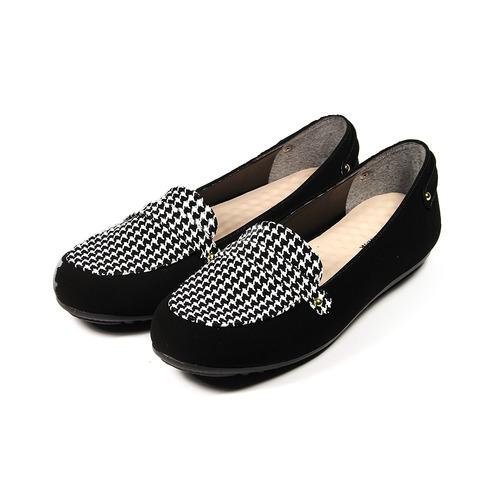 ^(女^) YOUNG COLOR 千鳥紋柔軟豆豆鞋 白 鞋全家福