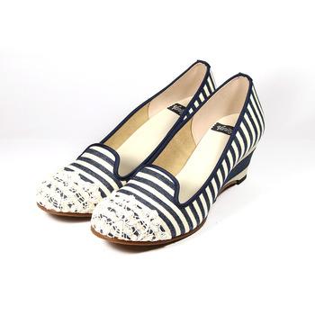 (女) VANITY 蕾絲條紋楔型鞋 海軍藍 鞋全家福