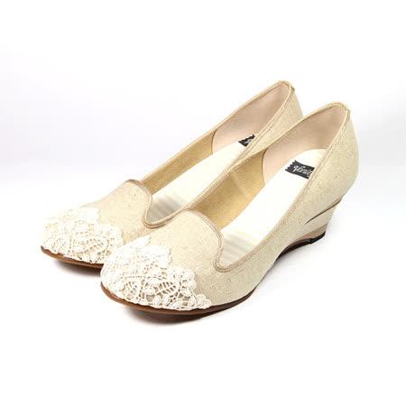 (女) VANITY 蕾絲條紋楔型鞋 米白 鞋全家福