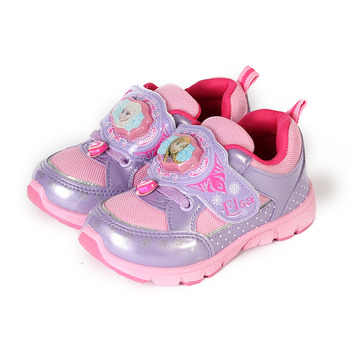 (中童) 冰雪奇緣 黏帶電燈鞋 紫 鞋全家福