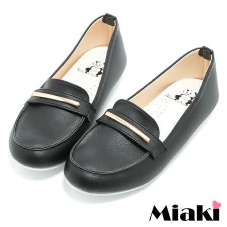 【Miaki】MIT 包鞋時尚金屬平底休閒樂福鞋 (黑色)