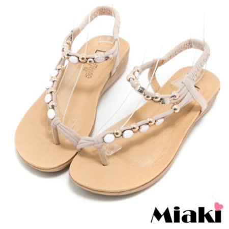 【Miaki】涼鞋寶石設計平底夾腳拖鞋 (米色)